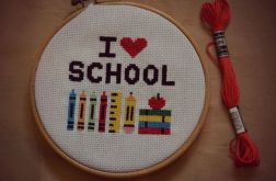 Ręcznie haftowany obrazek I LOVE SCHOOL haft krzyżykowy