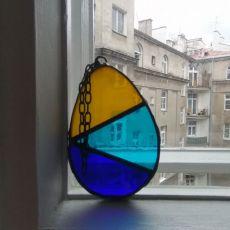 Zawieszka witrażowa jajko trójkolorowe