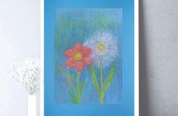 Rysunek kwiaty na niebieskim tle nr 6 - szkic