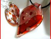 Szkło weneckie, jesienne liście, komplet biżuteri