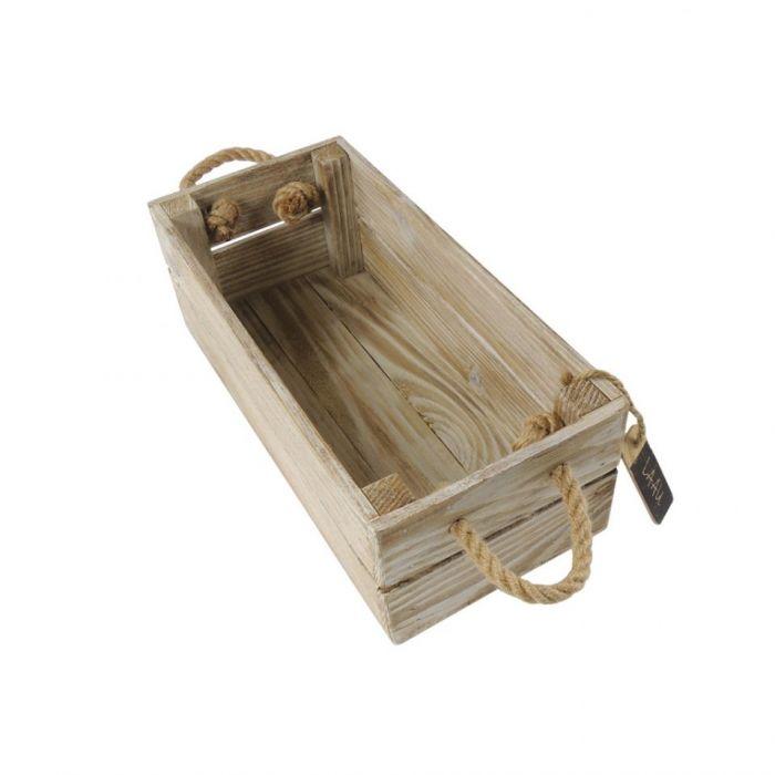 Skrzynka drewniana biało brązowa 15x31x11,5 - Skrzyneczka biało - brązowa