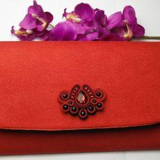 Torebka kopertówka wizytowa czarna czerwona