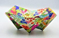Geometryczna miseczka origami kolorowe kwiaty