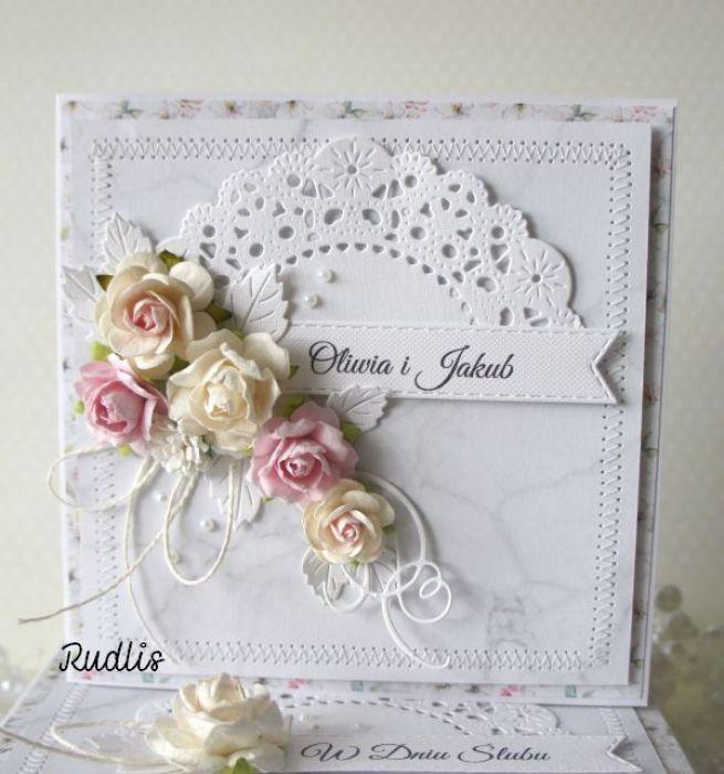 Kartka ślubna w pudełku - szyty komplet v.4 - szyta1ccc