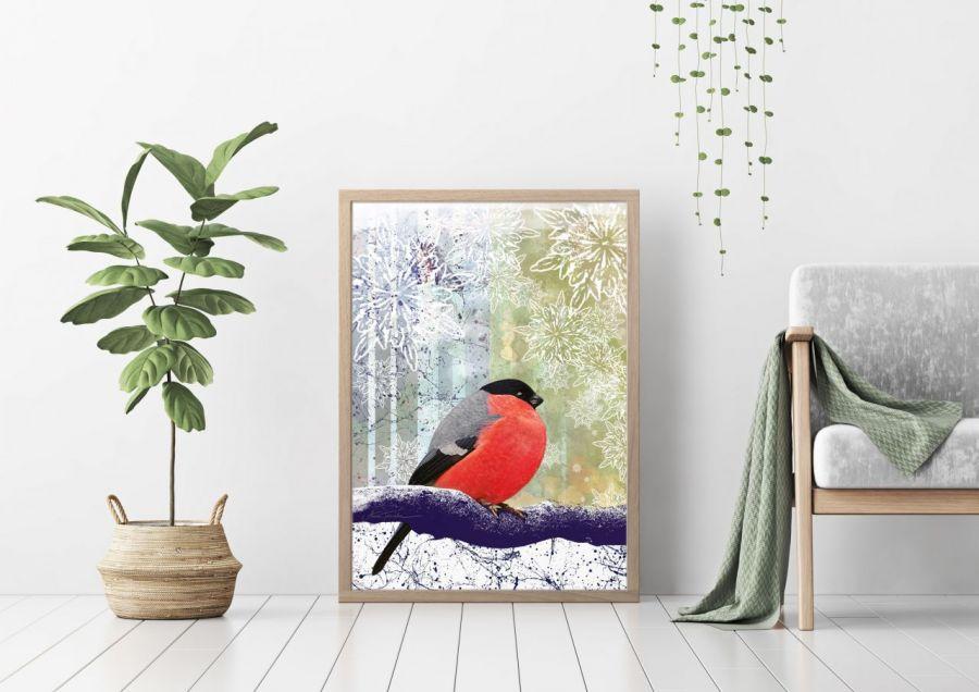 Ptak, plakat sygnowany, B2 70x50 cm - Przykładowa aranżacja