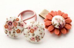 Komplet do włosów kwiatek i gumeczki FLORENCE