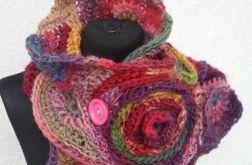 Szalik freeform crochet fuksja