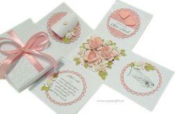 Exploding box ślubny biały z różami