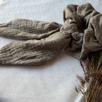 Beżowa frotka do włosów z wstęgą - Kawowa scrunchies