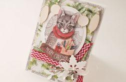 Kartka z Kotem - kartka świąteczna