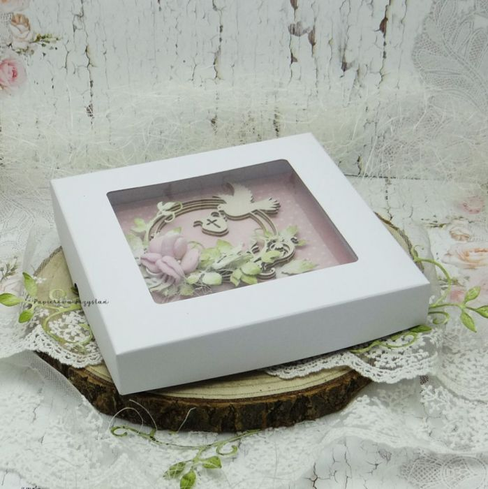 Pamiątka chrztu św. dla dziewczynki PCH 11 - kartka w pudełku na chrzest