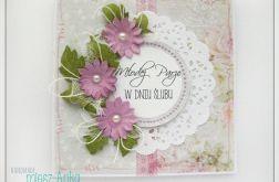 Delikatna kartka na Ślub z kwiatami 4