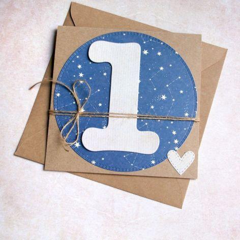 na roczek - kartka handmade - gwiazdy