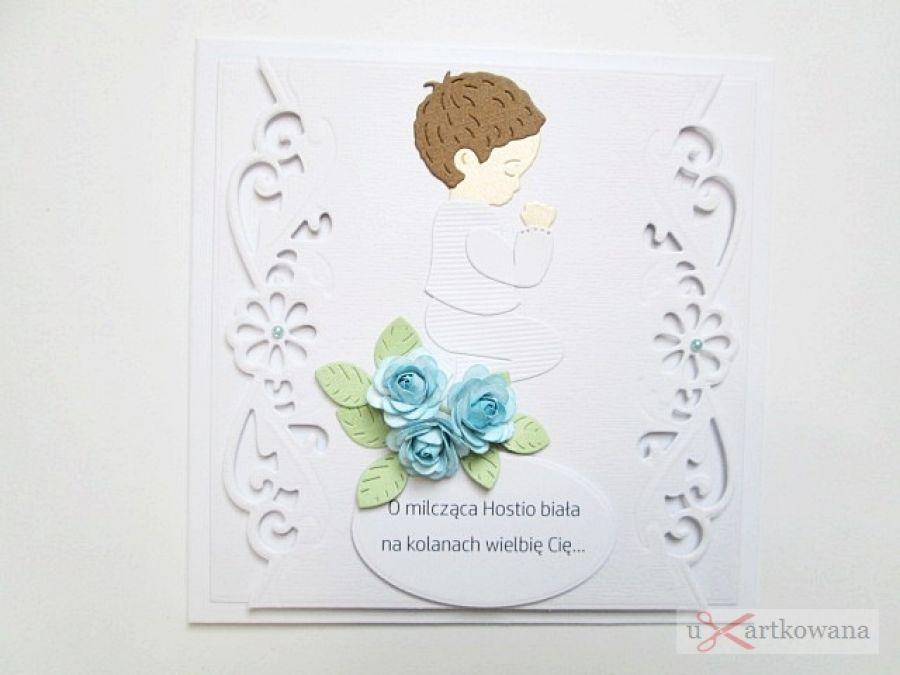 Kartka PAMIĄTKA I KOMUNII z chłopczykiem #1 - Biało-niebieska kartka komunijna z różyczkami