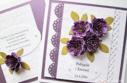 Kartka ŚLUBNA z fioletowymi kwiatami