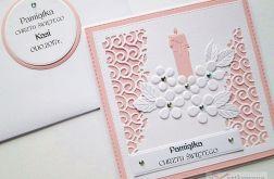 Kartka PAMIĄTKA CHRZTU różowo-biała #2