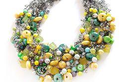 5018 naszyjnik szary żółty zielony