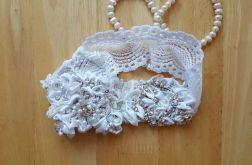 Podwiązka ślubna biała unikat