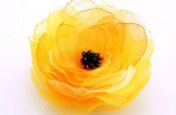 Broszka kwiat - żółta 10 cm