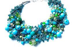 4595 naszyjnik kolia zieleń błękit