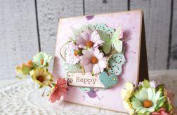Kartka z kolorowymi kwiatkami