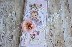 """Kartka DL na chrzest """"Pink Blossom"""" GOTOWA"""