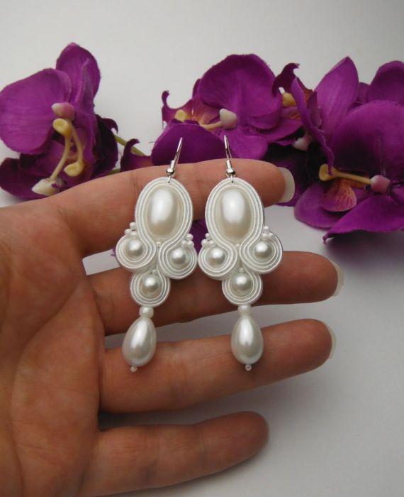 Ślubne kolczyki soutache sutasz perły białe