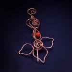 Miedziana duża broszka - kwiat z agatem - Broszka-kwiat3
