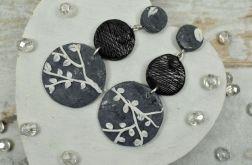 Kolczyki koła - motyw gałązki - szare