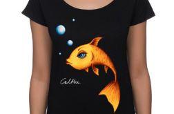 Złota rybka - koszulka oversize - czarna