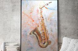 Saksofon, oryginalny obraz malowany na płótnie