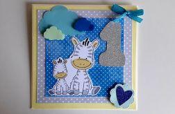 Kartka na Roczek niebieska zebry