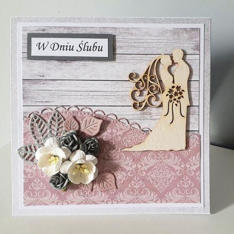 Kartka ślubna na ślub koronka kwiaty