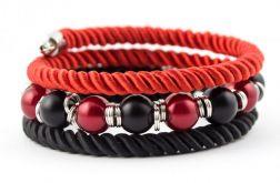 Bransoletka Twist czerwono - czarna