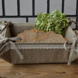 Lniany koszyk na pieczywo z serwetką