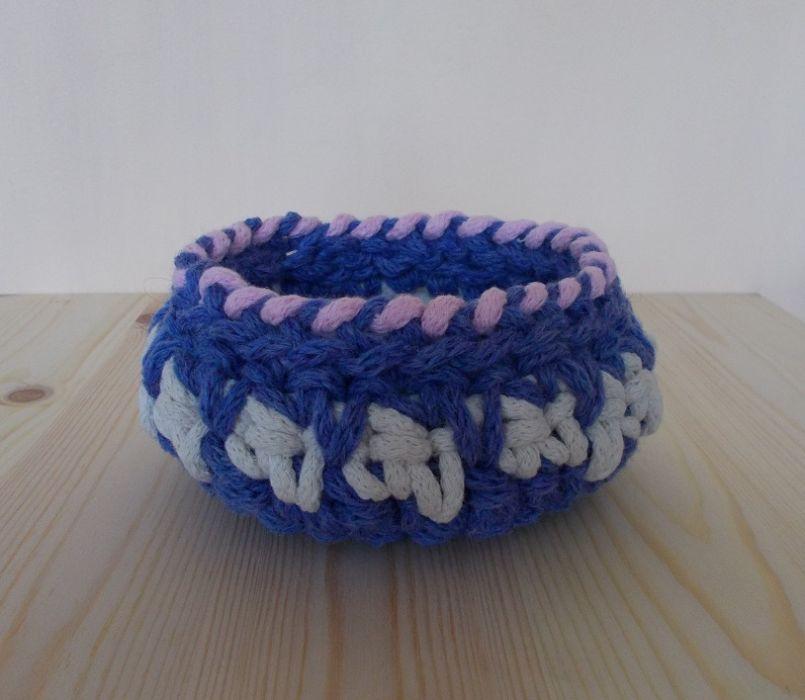 Koszyk Trzy kolory - niebieski - Koszyczek ze sznurka bawełnianego