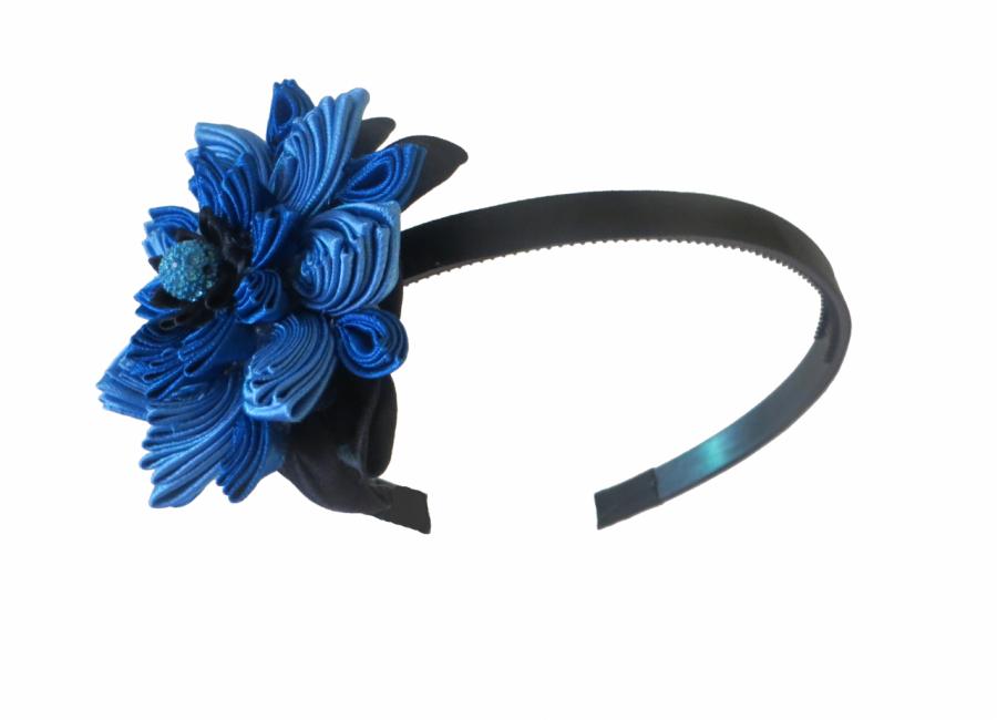 Błękitny kwiat kanzashi