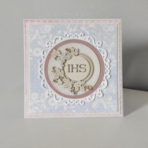 Kartka Komunia Święta różowo biała