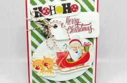 Kartka świąteczna mikołaj w saniach BNR 015