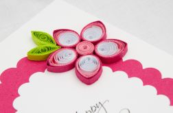 Kartka urodzinowa, quilling, kolor różowy