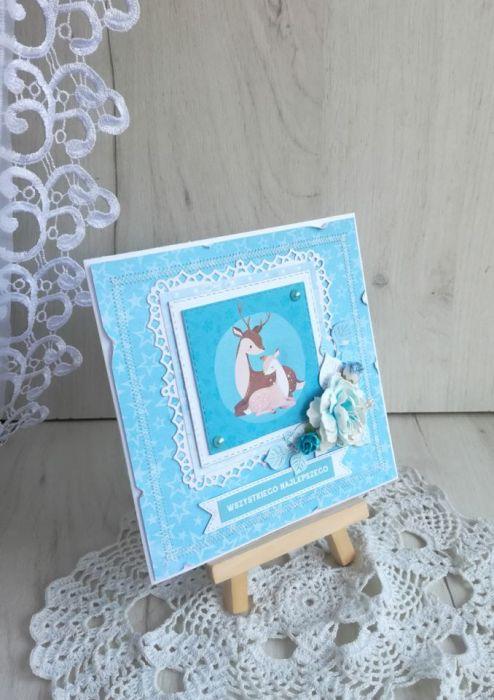 Kartka urodzinowa z jelonkiem niebieska GOTOW -
