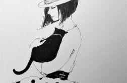 DZIEWCZYNKA Z KOTEM rysunek piórkiem