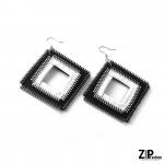 Designerskie kolczyki czarno-białe kwadraty - Kolczyki biało-czarne kwadraty.