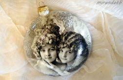 Bombka medalion anioły vintage