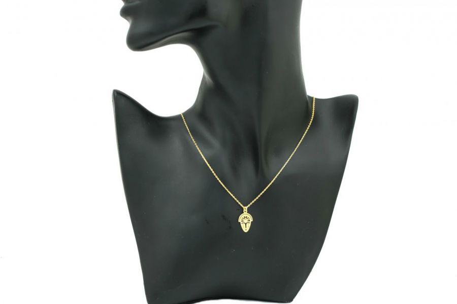 Naszyjnik afrykanska maska srebro pozłacane