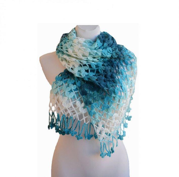 Długi szal  niebieski i turkus ;o))