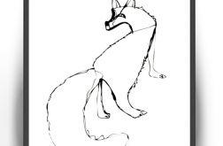 30x40 Obrazek z liskiem biało czarna grafika