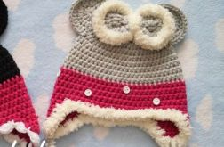 Zimowa czapka myszka szara