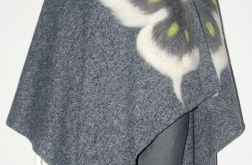Ponczo wełną zdobione motyl.
