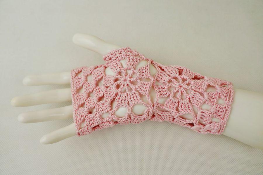 Rękawiczki, mitenki różowe - Mitenki szydełkowe